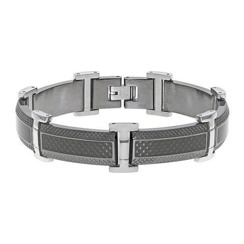 Mens Stainless Steel & Black IP Bracelet