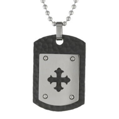 jcpenney.com | Mens Stainless Steel & Black IP Dog Tag Pendant Necklace
