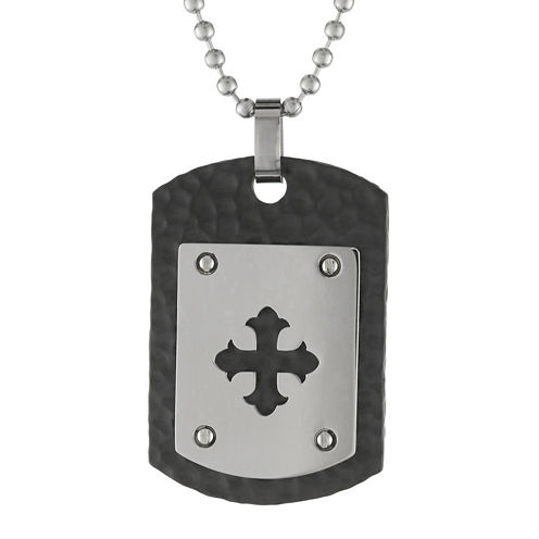 Mens Stainless Steel & Black IP Dog Tag Pendant Necklace