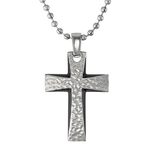 Mens Hammered Stainless Steel Cross Pendant Necklace