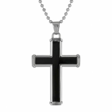 jcpenney.com | Mens Stainless Steel & Black IP Cross Pendant Necklace