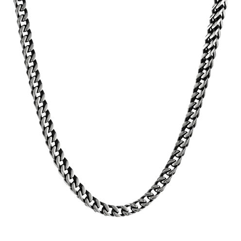 Mens Antique Finish Stainless Steel & Black IP Foxtail Chain