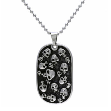 jcpenney.com | Mens Stainless Steel & Black IP Skull Dog Tag Pendant
