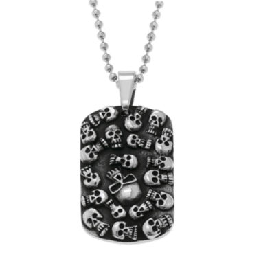 jcpenney.com | Mens Stainless Steel & Black IP Skull Dog Tag Pendant Necklace