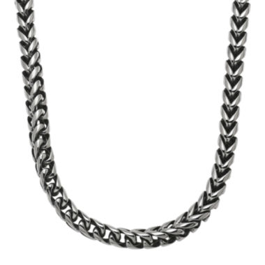 jcpenney.com | Mens Antique Finish Stainless Steel & Black IP Rounded Foxtail Chain