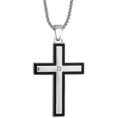 jcpenney.com | Mens Cubic Zirconia Stainless Steel & Resin Cross Pendant Necklace