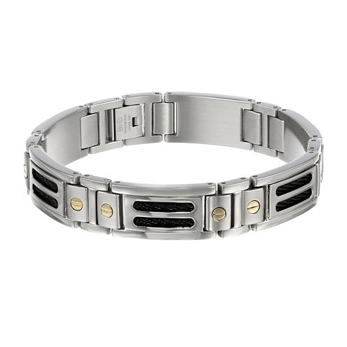 Mens 10K Gold, Stainless Steel & Black IP Cable Link Bracelet