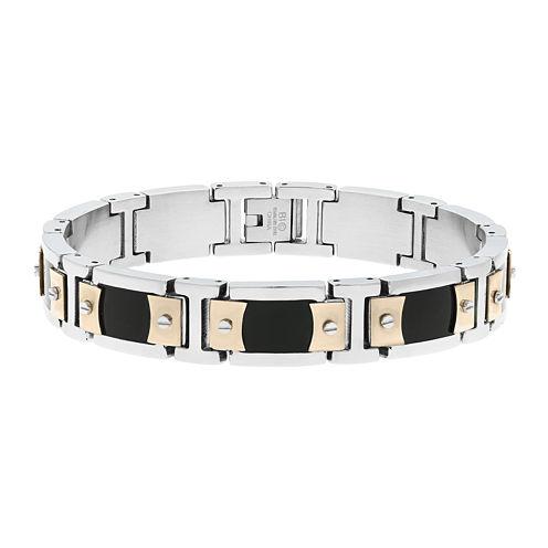 Mens Stainless Steel & Rose-Tone IP Link Bracelet