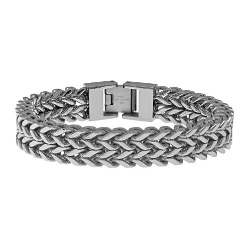 Mens Stainless Steel Wheat Chain Bracelet