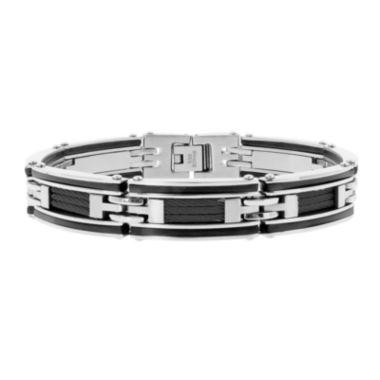 jcpenney.com | Mens Stainless Steel & Black IP Cable Link Bracelet