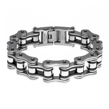 jcpenney.com | Mens Stainless Steel & Black IP Motorcycle Bracelet