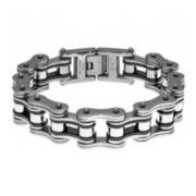 Mens Stainless Steel & Black IP Motorcycle Bracelet