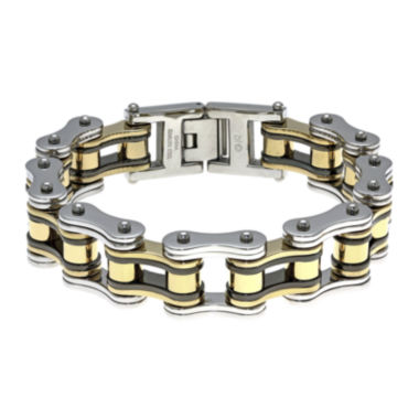 jcpenney.com | Mens Stainless Steel with Black & Gold-Tone IP Motorcycle Bracelet