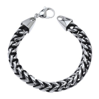 jcpenney.com | Mens Antique Finish Stainless Steel & Black IP Foxtail Bracelet