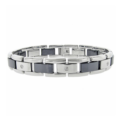 Mens 1/10 CT. T.W. Diamond Stainless Steel & Black Ceramic Bracelet