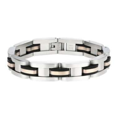 jcpenney.com | Mens Stainless Steel Rose-Tone IP & Rubber Link Bracelet