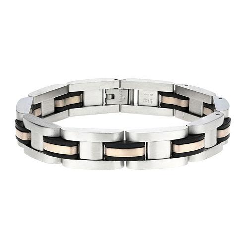 Mens Stainless Steel Rose-Tone IP & Rubber Link Bracelet