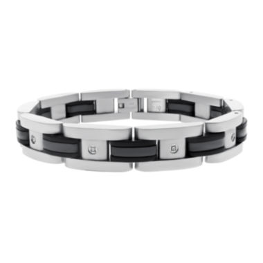 jcpenney.com | Mens 1/10 CT. T.W. Diamond Stainless Steel & Black Rubber Bracelet