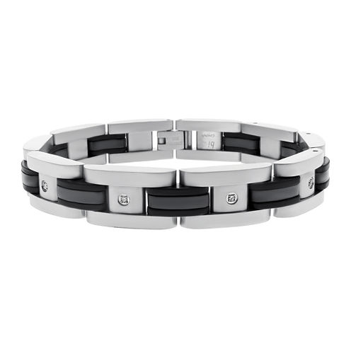 Mens 1/10 CT. T.W. Diamond Stainless Steel & Black Rubber Bracelet