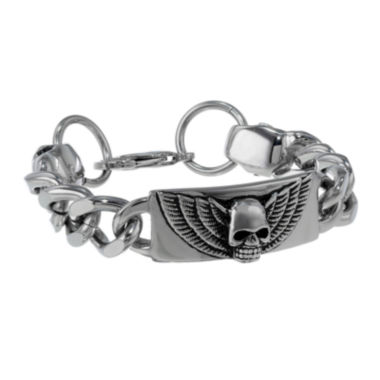 jcpenney.com | Mens Antique Finish Stainless Steel Skull ID Curb Bracelet