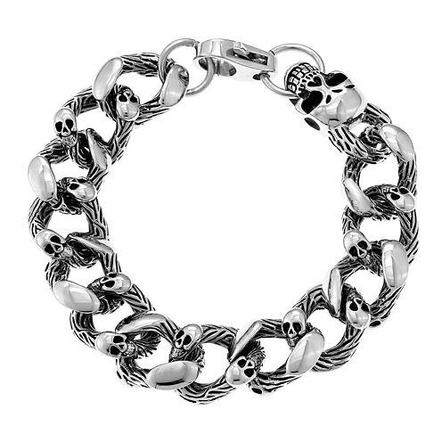 Mens Antique Finish Stainless Steel Skull Head Bracelet