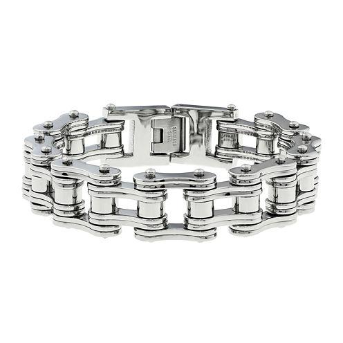 Mens Stainless Steel Motorcycle Bracelet