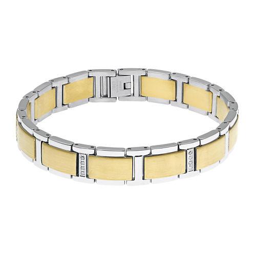 Mens 1/7 CT. T.W. Diamond Stainless Steel Gold-Tone IP Link Bracelet