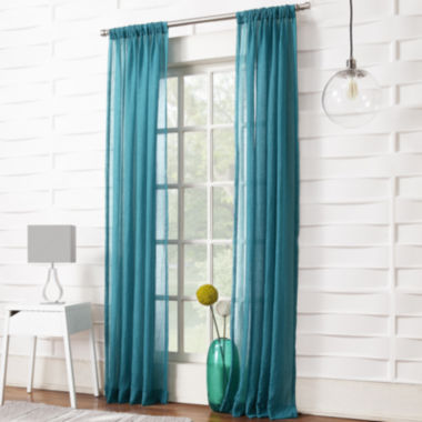 jcpenney.com | Lola Solid Rod-Pocket Sheer Curtain Panel