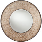 Elouise Antiqued Silver-Tone Round Wall Mirror