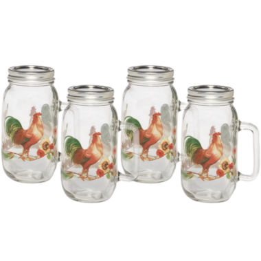 jcpenney.com | Pfaltzgraff® Rooster Meadow Set of 4 Glass Mason Jars