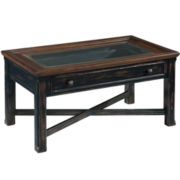 Jonesboro Distressed Small Glass Top Rectangular Coffee Table