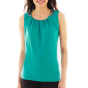 Worthington® Jeweled Drape-Neck Top - Petite