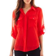 Como Black 3/4 Roll-Sleeve Button-Front Shirt - Petite