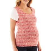 Maternity Short-Sleeve Aztec-Print Blouse
