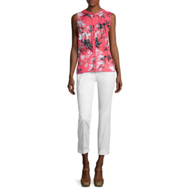jcpenney.com | Liz Claiborne® Sleeveless Piped Blouse or Cuffed Sateen Cropped Pants
