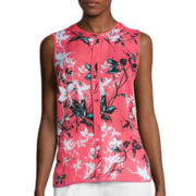 Liz Claiborne® Sleeveless Piped Blouse - Tall