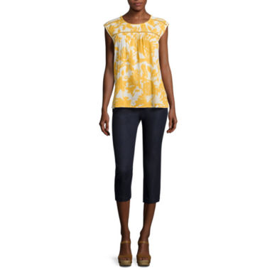 jcpenney.com | St. John's Bay® Sleeveless Floral Blouse or Twill Crop Pants - Tall