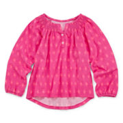 Arizona Long-Sleeve Smocked-Neck Top - Toddler Girls 2t-5t