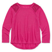 Arizona Long-Sleeve Lace-Shoulder Top - Preschool Girls 4-6x