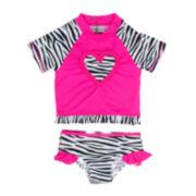 Wippette 2-pc. Zebra Rash Guard Swimsuit - Toddler Girls 2t-5t