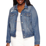 Arizona Destructed Denim Jacket - Juniors Plus