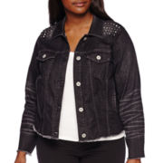 Arizona Studded Denim Jacket - Juniors Plus