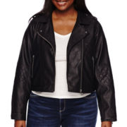 Arizona Faux Leather Moto Jacket - Juniors Plus