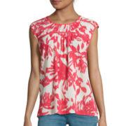 St. John's Bay® Sleeveless Floral Ladder-Trim Blouse - Tall