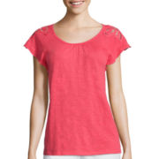 St. John's Bay® Short-Sleeve Lace-Shoulder Tee - Tall