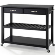 Geary Black Granite-Top Rolling Kitchen Island