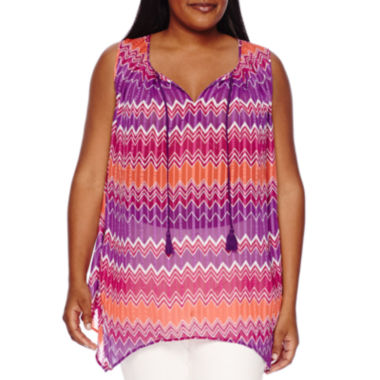 jcpenney.com | Stylus™ Pleated Tank Top - Plus
