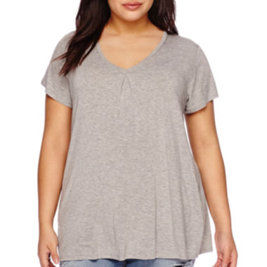 jcpenney.com | Boutique+ Double V-Neck Basic Tee - Plus