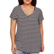 Boutique+™ Double V-Neck Basic Tee - Plus