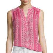 St. John's Bay® Sleeveless Tie Dye Popover Top - Tall